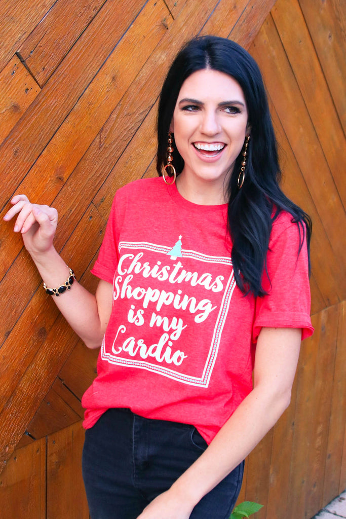 Christmas Shopping Is My Cardio (Heather Red) - Short Sleeve / Crew