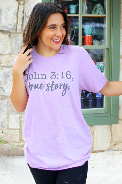 John 3:16 - True Story (Heather Prism Lilac) - Short Sleeve