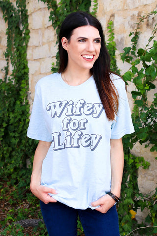 Wifey For Lifey (Heather Prism Ice Blue) - Short Sleeve