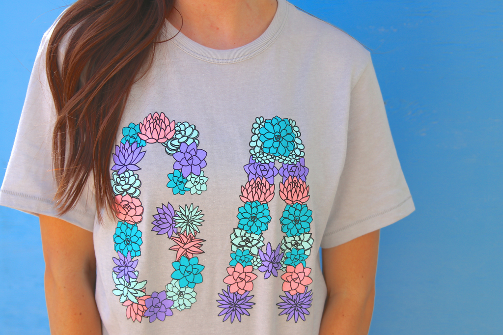 Georgia Succulents - Silver - Short Sleeve