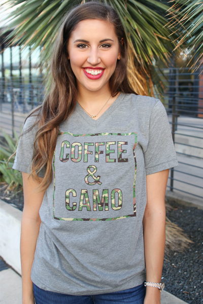 Coffee & Camo (Grey Tri-blend) - Short Sleeve