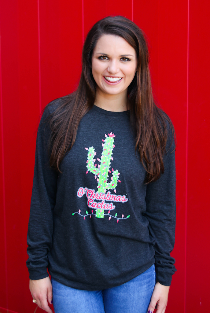 Oh Christmas Cactus (Charcoal Black) - Long Sleeve