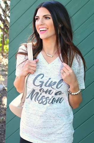 Girl On a Mission (White Marble) - Short Sleeve