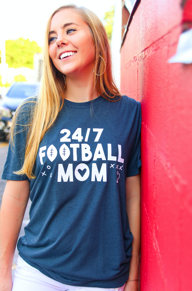 24/7 Football Mom (Charcoal Fleck) - Short Sleeve