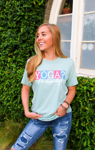 Yoga? I'm Down Dog (Heather Dusty Blue)- Short Sleeve
