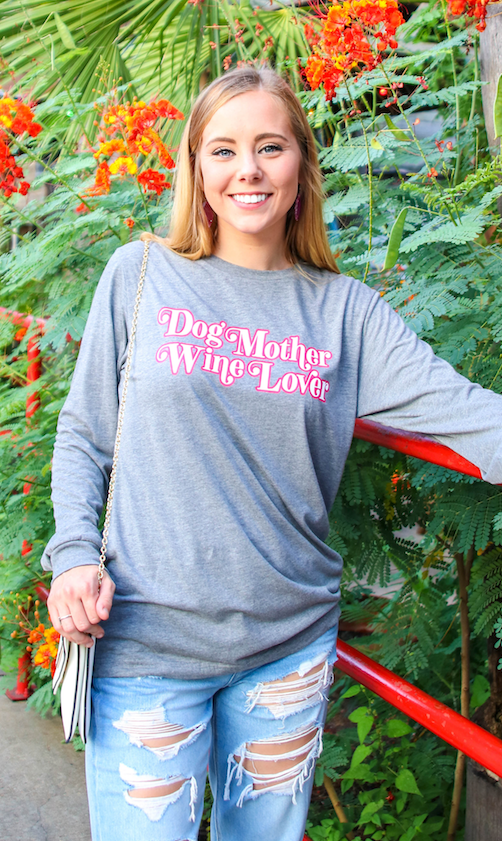 Dog Mother Wine Lover (Grey Triblend) - Long Sleeve/Crew