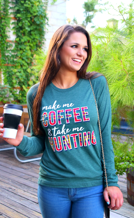 Make My Coffee (Military Green) - Long Sleeve/Crew