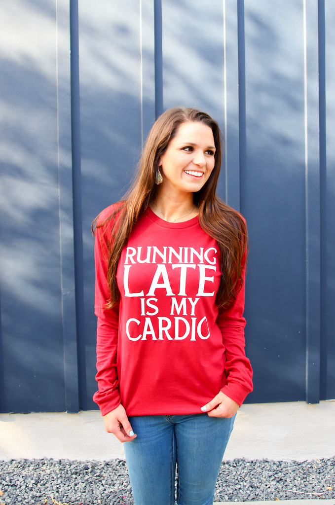 Running Late Is My Cardio (Cardinal) - Long Sleeve/Crew