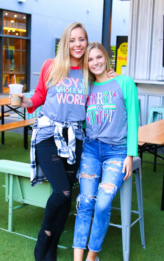 Merry & Bright (Heather Grey/Heather Green) - Long Sleeve (Raglan)