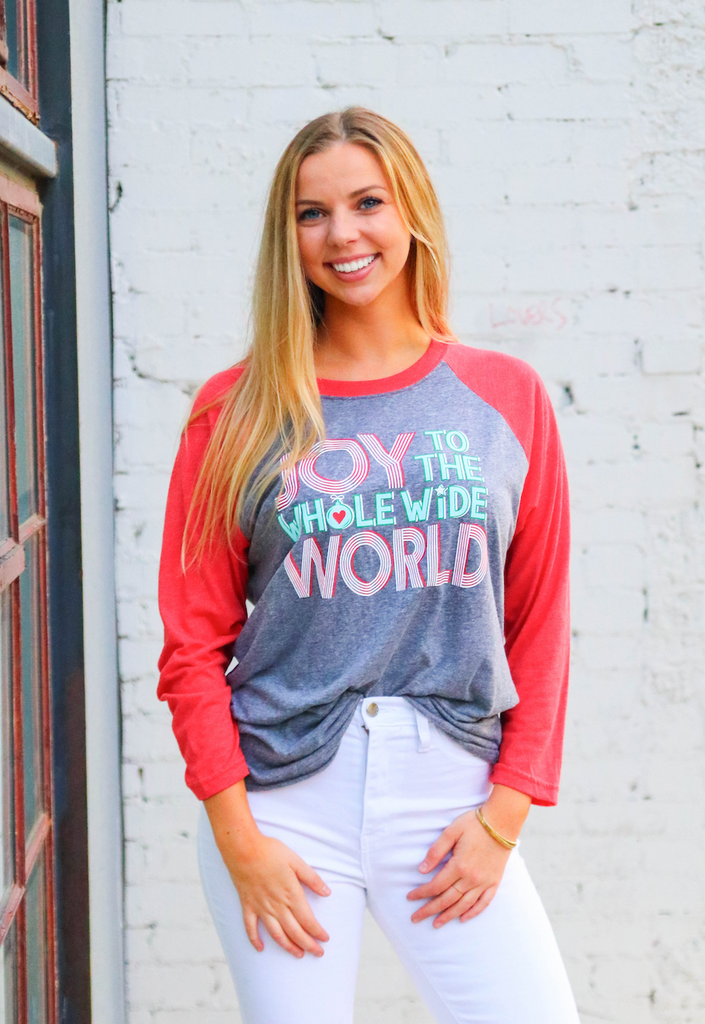 Joy To The Whole Wide World (Heather Grey/Heather Red) - Long Sleeve (Raglan)