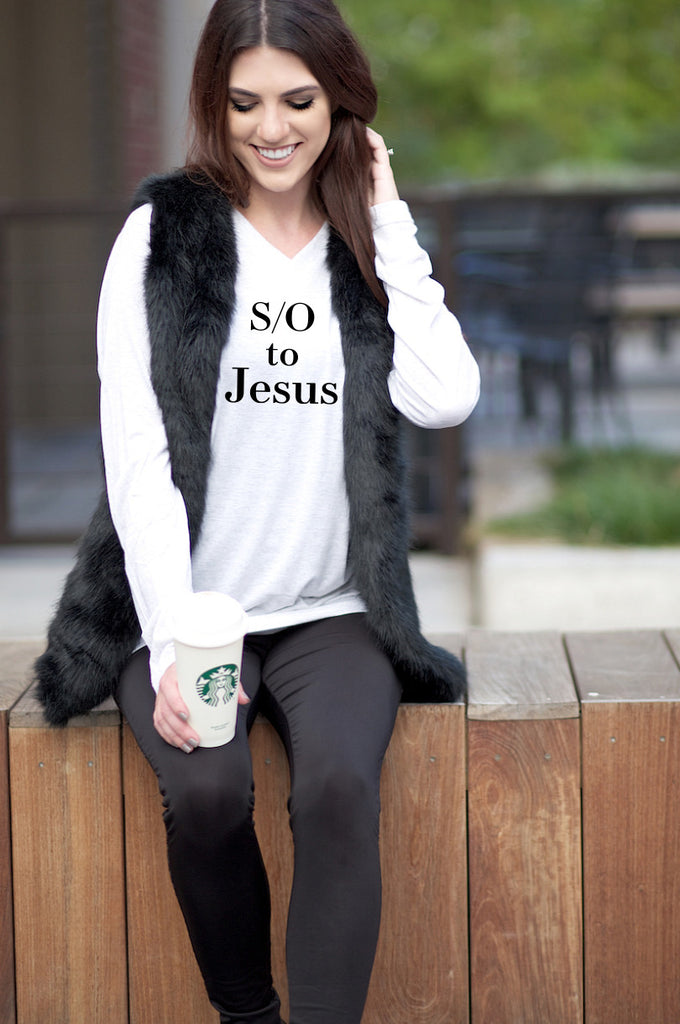 S/O to Jesus - White V-neck - Long Sleeve Tee