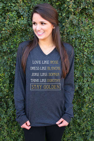 Stay Golden (Charcoal Black) - Long Sleeve