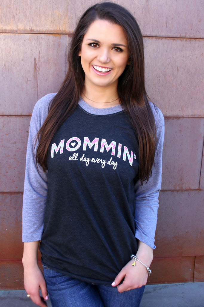 Mommin' All Day (Black/Grey) - Long Sleeve