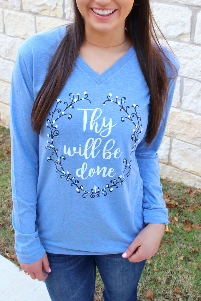 Thy Will Be Done (Blue) - Long Sleeve