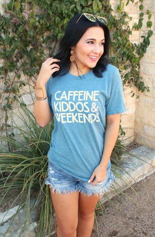 Caffeine, Kiddos & Weekends (Denim) - Short Sleeve