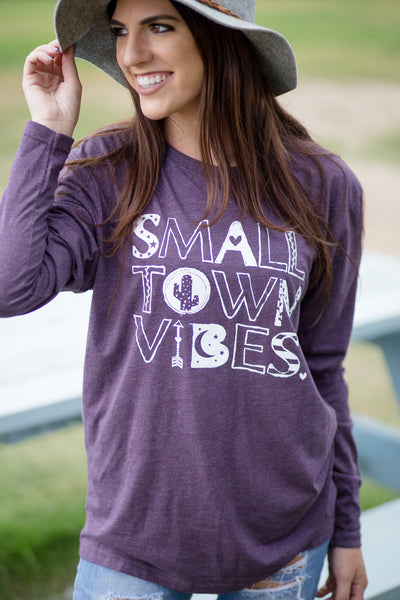 Small Town Vibes - Heather Plum Long Sleeve Tee