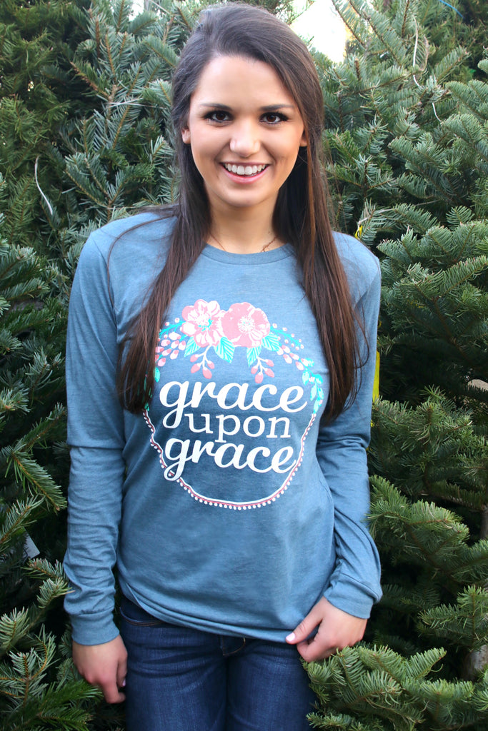 Grace Upon Grace (Slate) - Long Sleeve