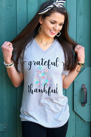 Grateful & Thankful (Grey Triblend) - Short Sleeve