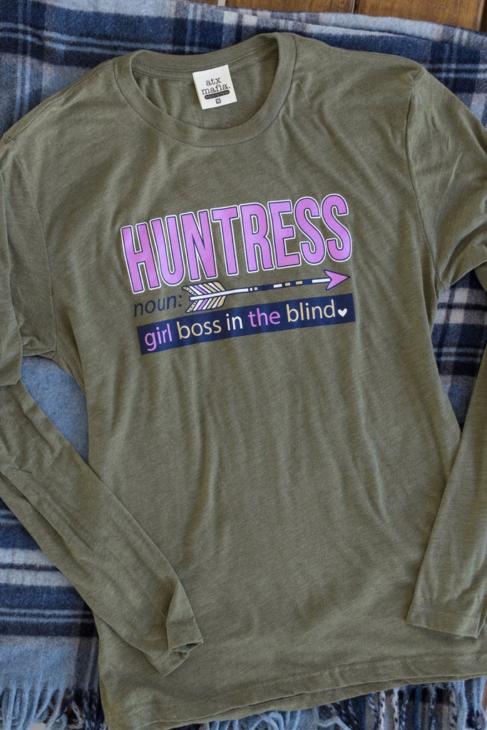 Huntress - Heather Olive Green - Long Sleeve