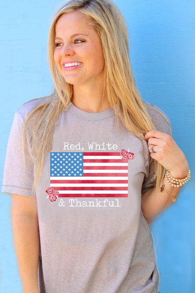 Red White & Thankful (Stone) - Short Sleeve