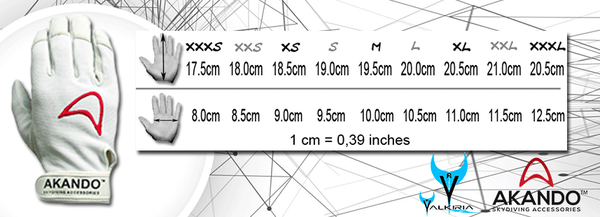 Akando Gloves Skydive Size Guide