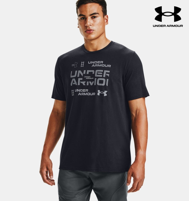 Mens Ua Grid Short Sleeve - Black