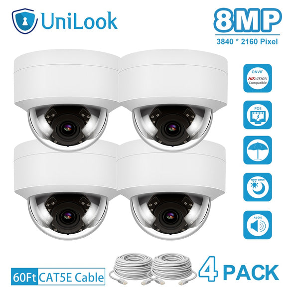4K 8MP IP Camera POE Outdoor Security Camera 4 PCS In Package
