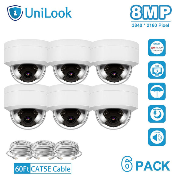 4K 8MP IP Camera POE Outdoor Security Camera 6 PCS In Package