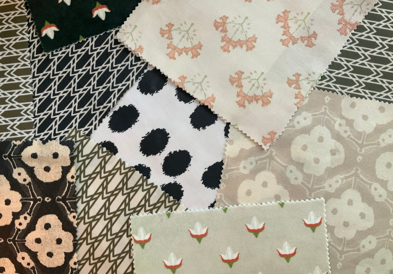 fabric swatches polka dots florals trellis