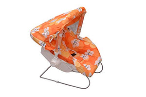Multipurpose 10 in 1 Baby Carry Cot/Baby Bouncer with Mosquito Net and Sun Shade (Orange)