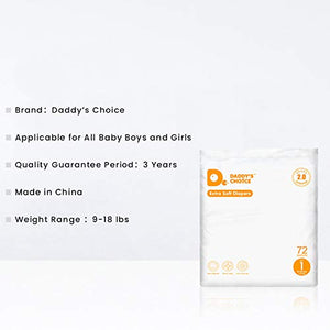 Daddy's Choice Extra-Absorb Soft Disposable Diapers with Wetness Indicator for Infants (Pack of 72)