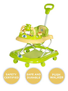 Mee Mee Baby Walker with Adjustable Height and Push Handle Bar (Green)