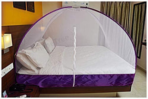 OnlineTree Mosquito net Foldable King Size (Double Bed) with Free Saviours (Violet)