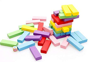 SHANBUYERS - Xplore The Unxplored Wooden Blocks, Tumbling Tower Toy with 1 Dice (54 Pcs)