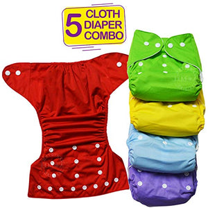 Bembika B Plus Solid Cloth Diapers for Babies, Washable Reusable, Adjustable Sizes (5 Combo) (No Inserts Included) 5B