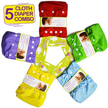 Load image into Gallery viewer, Bembika B Plus Solid Cloth Diapers for Babies, Washable Reusable, Adjustable Sizes (5 Combo) (No Inserts Included) 5B
