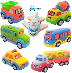 FunBlast Unbreakable Pull Back Toy Car for Kids (Set of 7)
