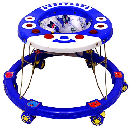 ODELEE Musical Baby Activity Cat Face Foldable Baby Walker for Kids with Music and Light Age 6 Month+ (Blue)