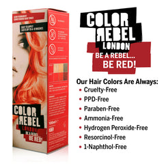 Color Rebel London Semi-Permanent Hair Dye in Bright Red - Vibrant, Nourishing, Cruelty-Free, Conditioning Hair Color