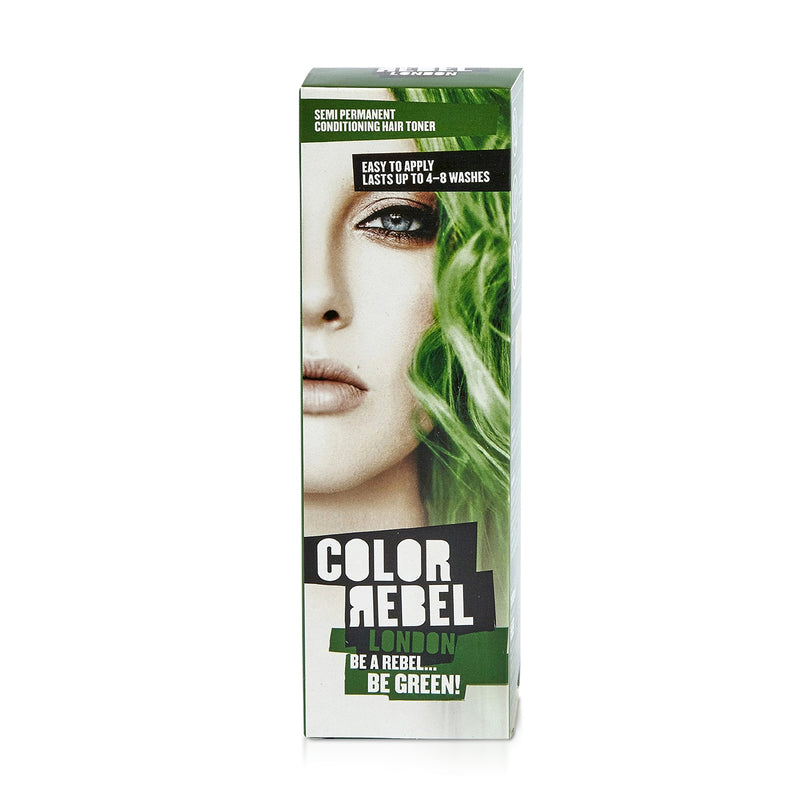 Color Rebel London Semi-Permanent Hair Dye in Bright Green - Vibrant, Nourishing, Cruelty-Free, Conditioning Hair Color