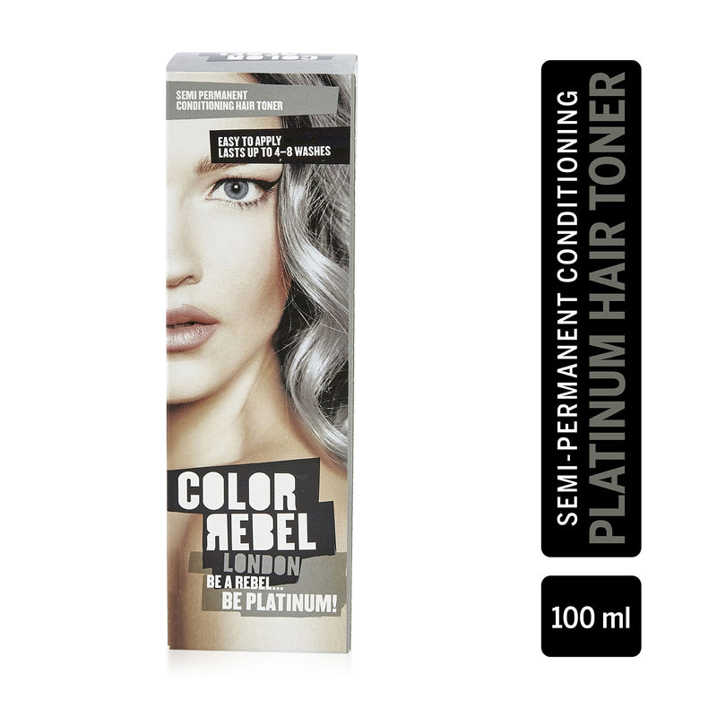 Color Rebel London Semi-Permanent Hair Dye in Platinum Silver - Vibrant, Nourishing, Cruelty-Free, Conditioning Hair Color