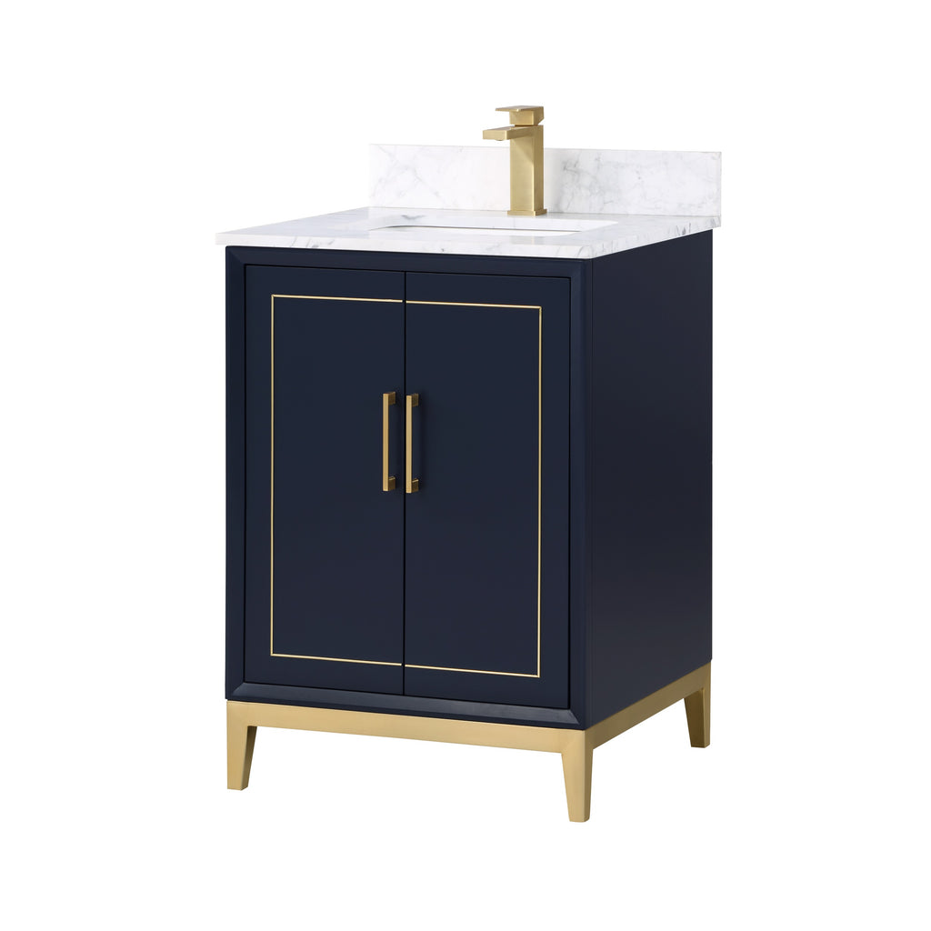 "BemmaDesign Gracie 24"" Bathroom Vanity, Blue with White Granite top V-GR24SFM-02BS-C03S-1"