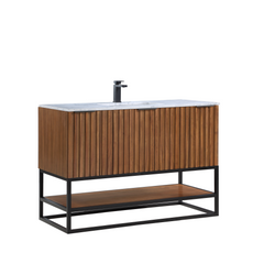 "BemmaDesign Terra 48"" Bathroom Vanity, Walnut and Matte Black with Carrara Marble top V-TR48SFM-05MB-M03S-1"