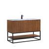 "Image of BemmaDesign Terra 48"" Bathroom Vanity, Walnut and Matte Black with Carrara Marble top V-TR48SFM-05MB-M03S-1"