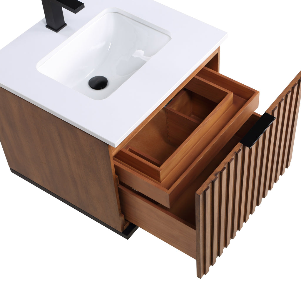 "BemmaDesign Terra 24"" Wallmount  Bathroom Vanity, Walnut and Matte Black with White Granite V-TR24SWM-05MB-C03S-1"