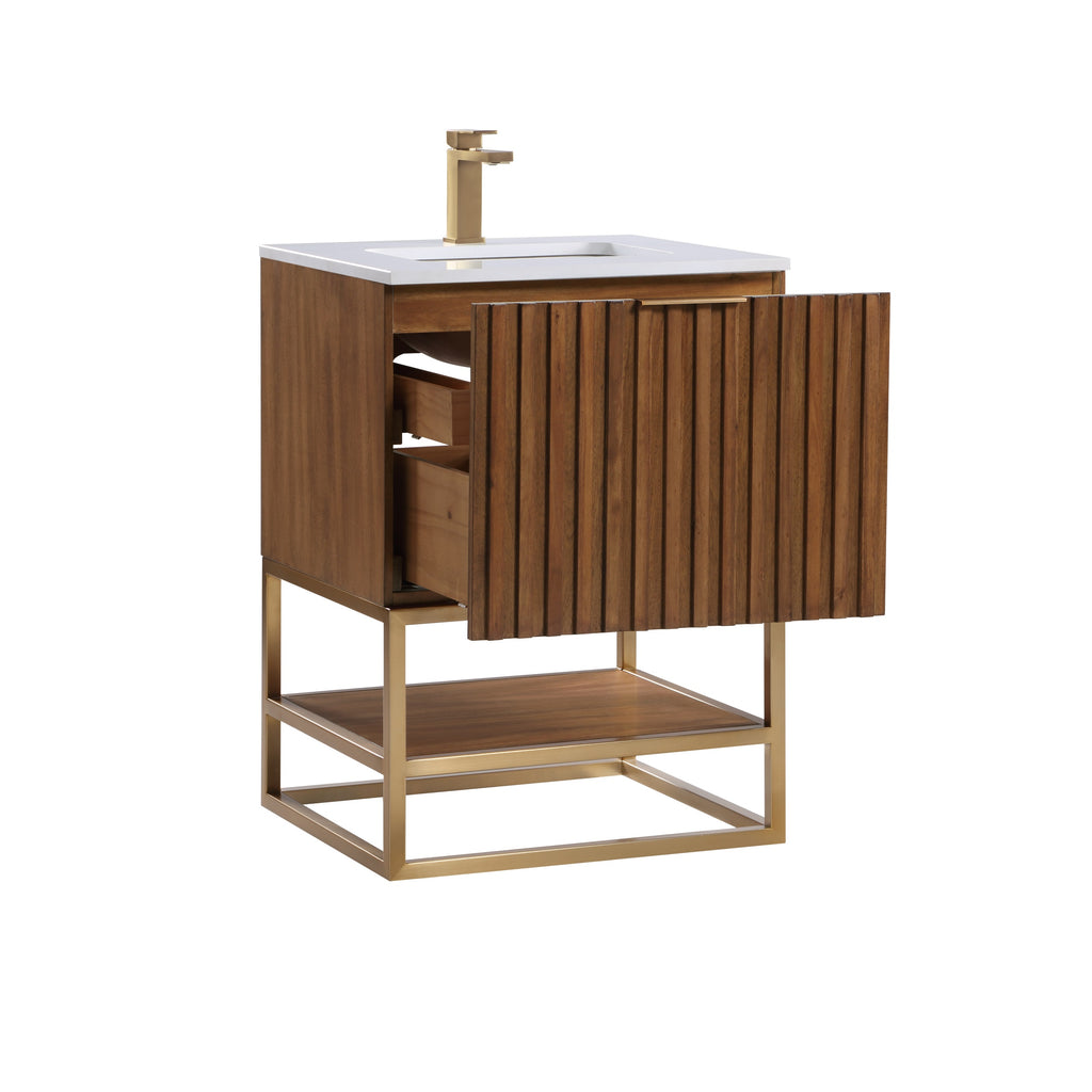 "BemmaDesign Terra 24"" Bathroom Vanity, Walnut and Satin Brass with White Granite top"