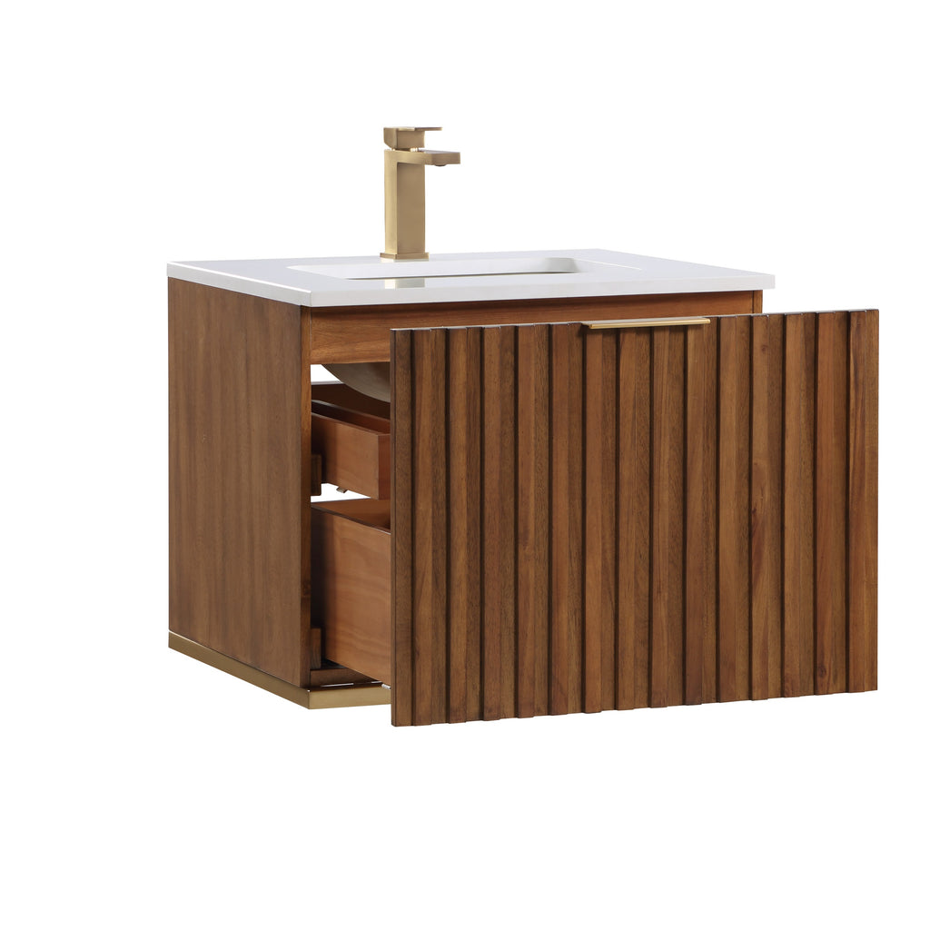 "BemmaDesign Terra 24"" Wallmount  Bathroom Vanity, Walnut and Satin Brass with White Granite V-TR24SWM-05BS-C03S-1"