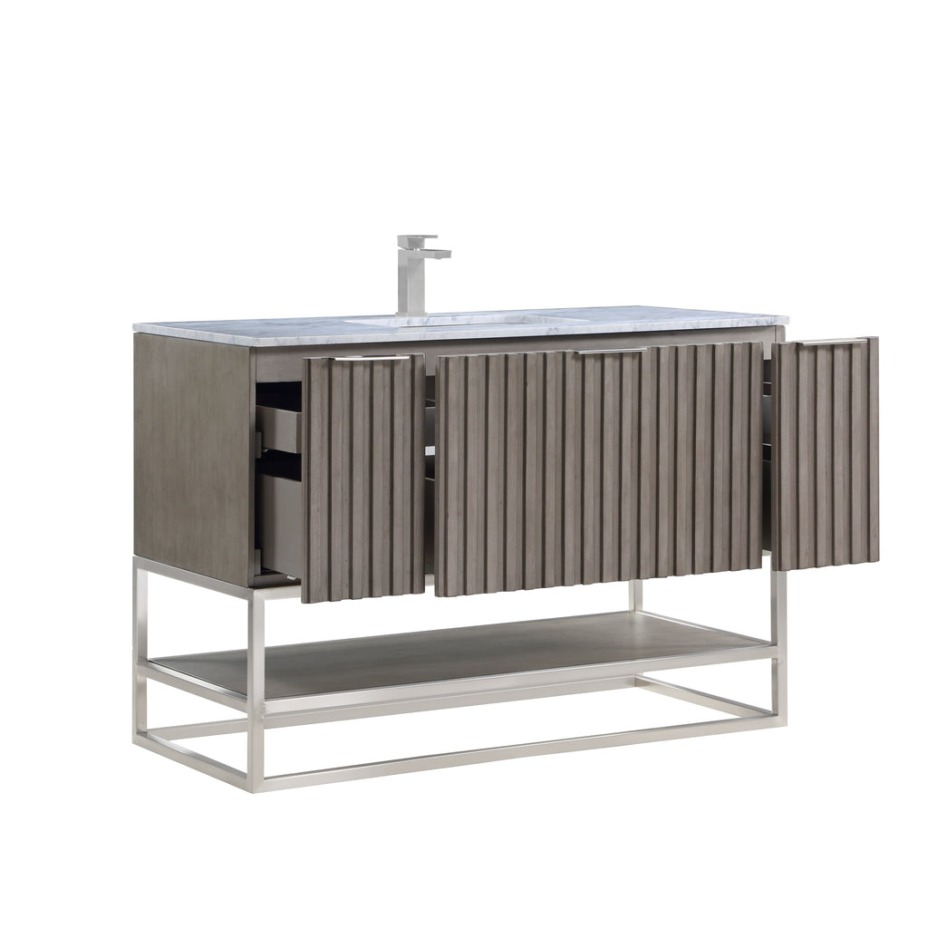 "BemmaDesign Terra 48"" Bathroom Vanity, Greywash with Carrara Marble top V-TR48SFM-01BN-M03S-1"
