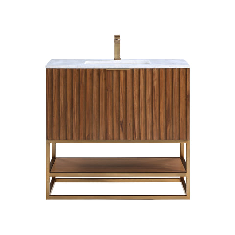 "BemmaDesign Terra 36"" Bathroom Vanity, Walnut and Satin Brass with Carrara Marble top V-TR36SFM-05BS-M03S-1"