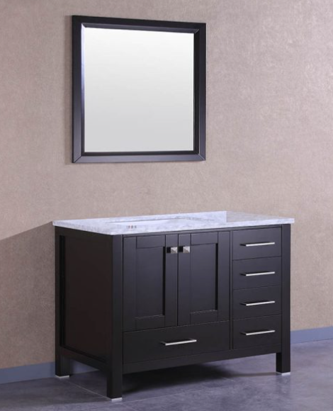 "Eviva Aberdeen 36"" Espresso Transitional Bathroom Vanity w/ White Carrara Top EVVN412-36ES"